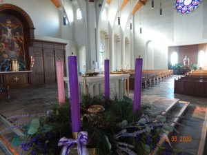 Advent wreath and altar