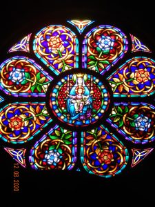 Mary and child rose window